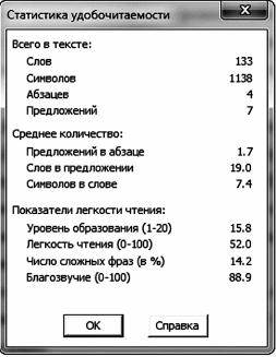 Статистика удобочитаемости
