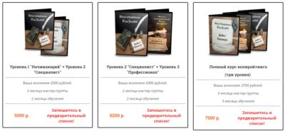 Стоимость обучения на курсах Юлии Волкодав